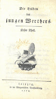 Title page of Goethe's Sorrows of Young Werther in German and printed in 1774