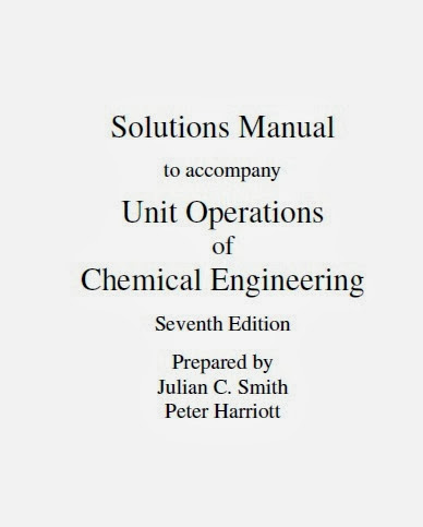 Unit Operations in Chemical Engineering: Solutions Manual