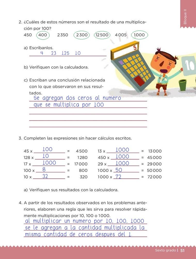 Libro de textoDesafíos MatemáticosPor 10, por 100, por 1000Sexto gradoContestado