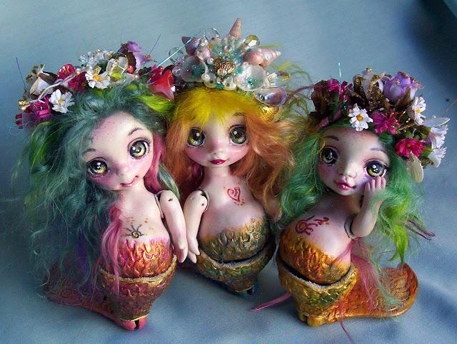 muñecas ooak artesanales sirenas de porcelana art dolls argentina