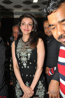 Kajal Aggarwal in lovely Black Sleeveless Anarlaki Dress in Hyderabad at Launch of Bahar Cafe at Madinaguda 048.JPG