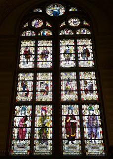 Stained glass window depicting professions and painters, Rijksmuseum, The Netherlands