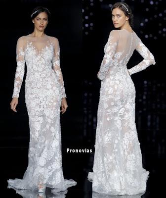 Vestido de novia de atelier Pronovias 2017 en delicado tul bordado
