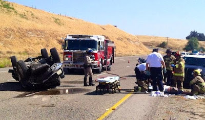 fresno county rollover pickup truck accident friant road