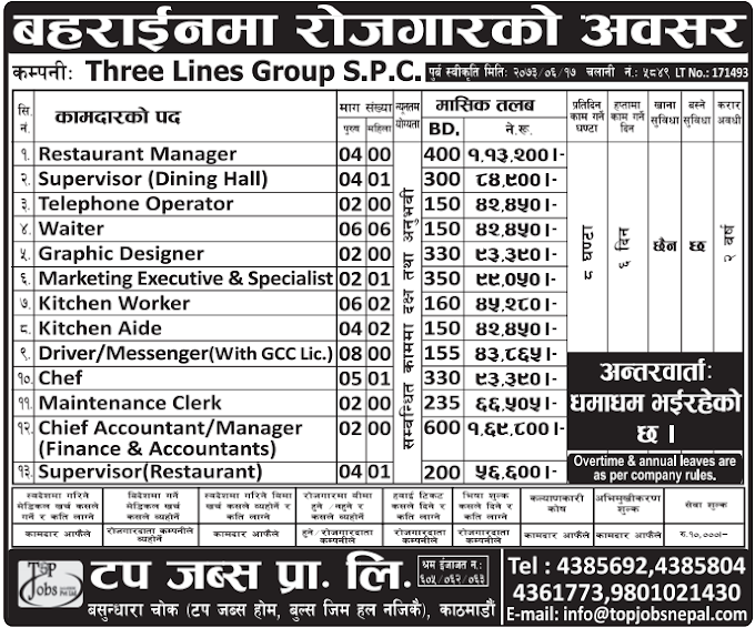 FREE VISA FREE TICKET, Jobs For Nepali In BAHRAIN Salary -Rs.1,13,200/