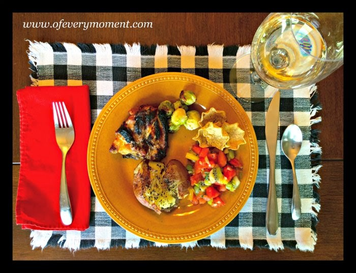 Chicken, smashed potatoes, watermelon salsa