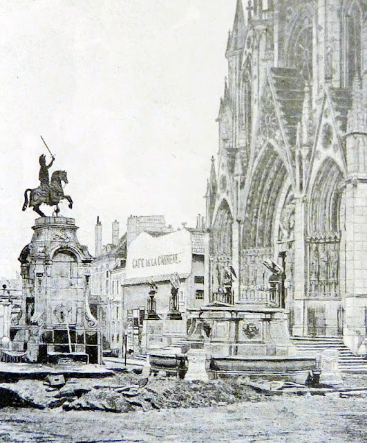 Vue de l'église et place Saint-Epvre et la statue équestre de René II de Lépy en 1881