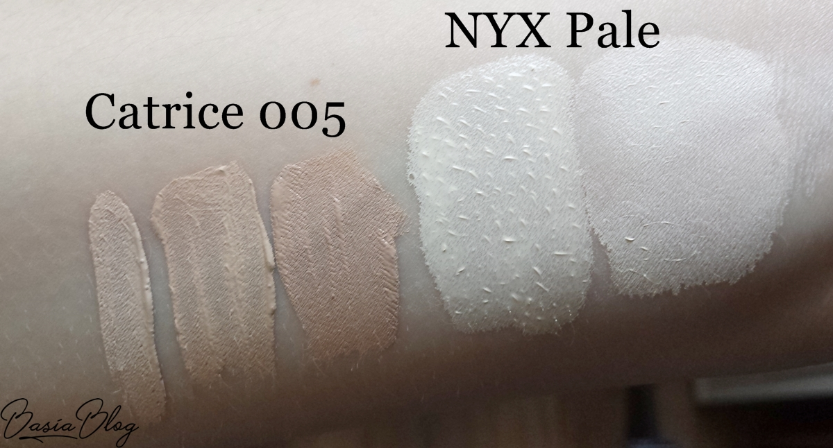NYX Total Control Drop Foundation Pale, Catrice Liquid Camouflage 005 jak ciemnieje swatch