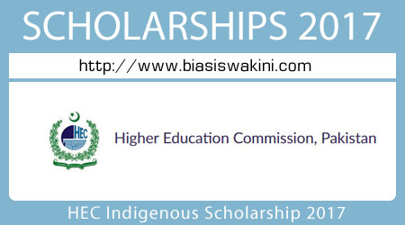 HEC Indigenous Scholarship 2017
