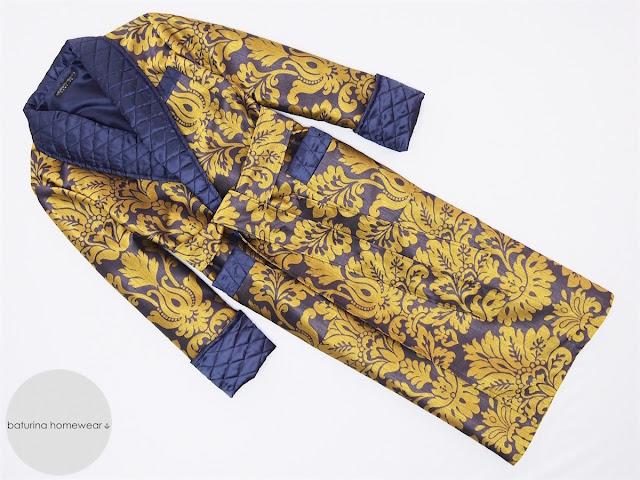mens dressing gown luxury robe full length paisley bathrobe gold dark navy blue gentleman smoking jacket