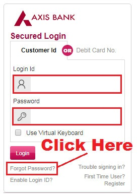 how to reset axis bank internet banking password
