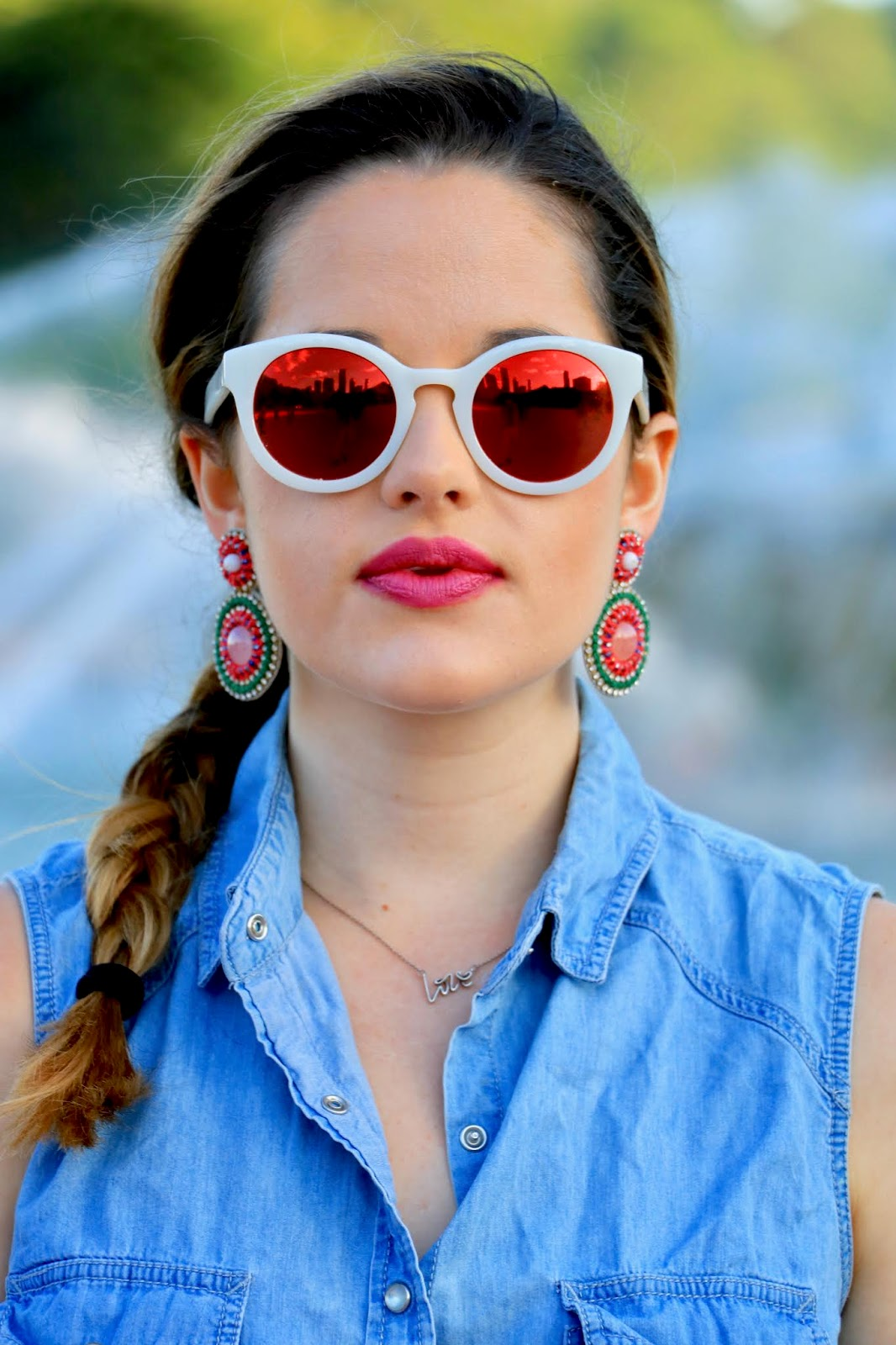 Nyc fashion blogger Kathleen Harper wearing summer statement earrings from Anthropologie