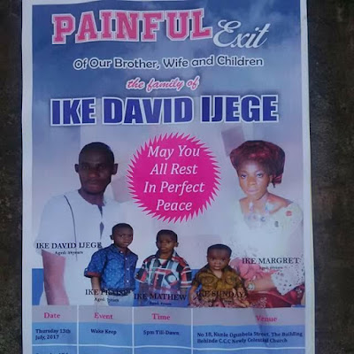 Photo: Family of five wiped out by badoo members in Ikorodu to be buried on July 14th