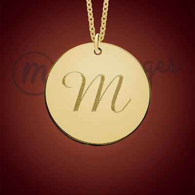messages in metal gold monogram round personalised necklace