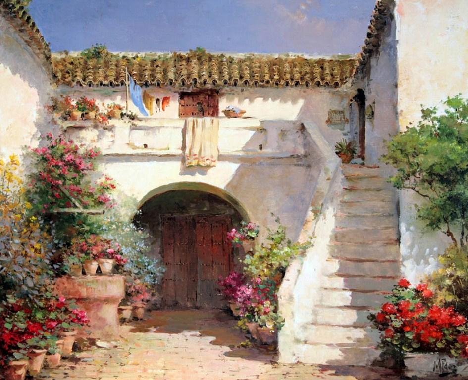 Cuadros modernos pinturas y dibujos lbum de paisajes for Decoracion casas de pueblo fotos