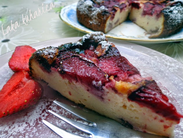Strawberry ricotta cake by Laka kuharica: A soft, delicate cake topped with fresh strawberries.