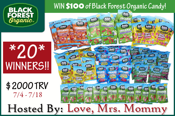 Be one of 20 winners! $100 worth of Black Forest Organic Candy each (US only)