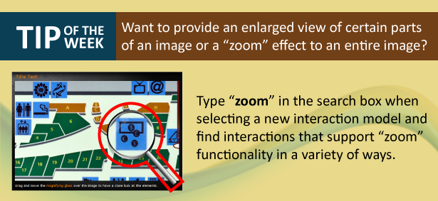An image explaining how to add an enlarge or zoom effect to images used in Raptivity interactions.