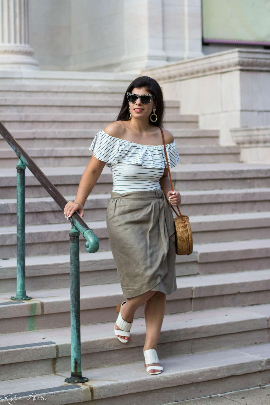47d6871d7c3 Striped Ruffle Bodysuit J.Crew Factory Wrap Skirt Milly via Coco s on the  Green similar. Huarache Mules