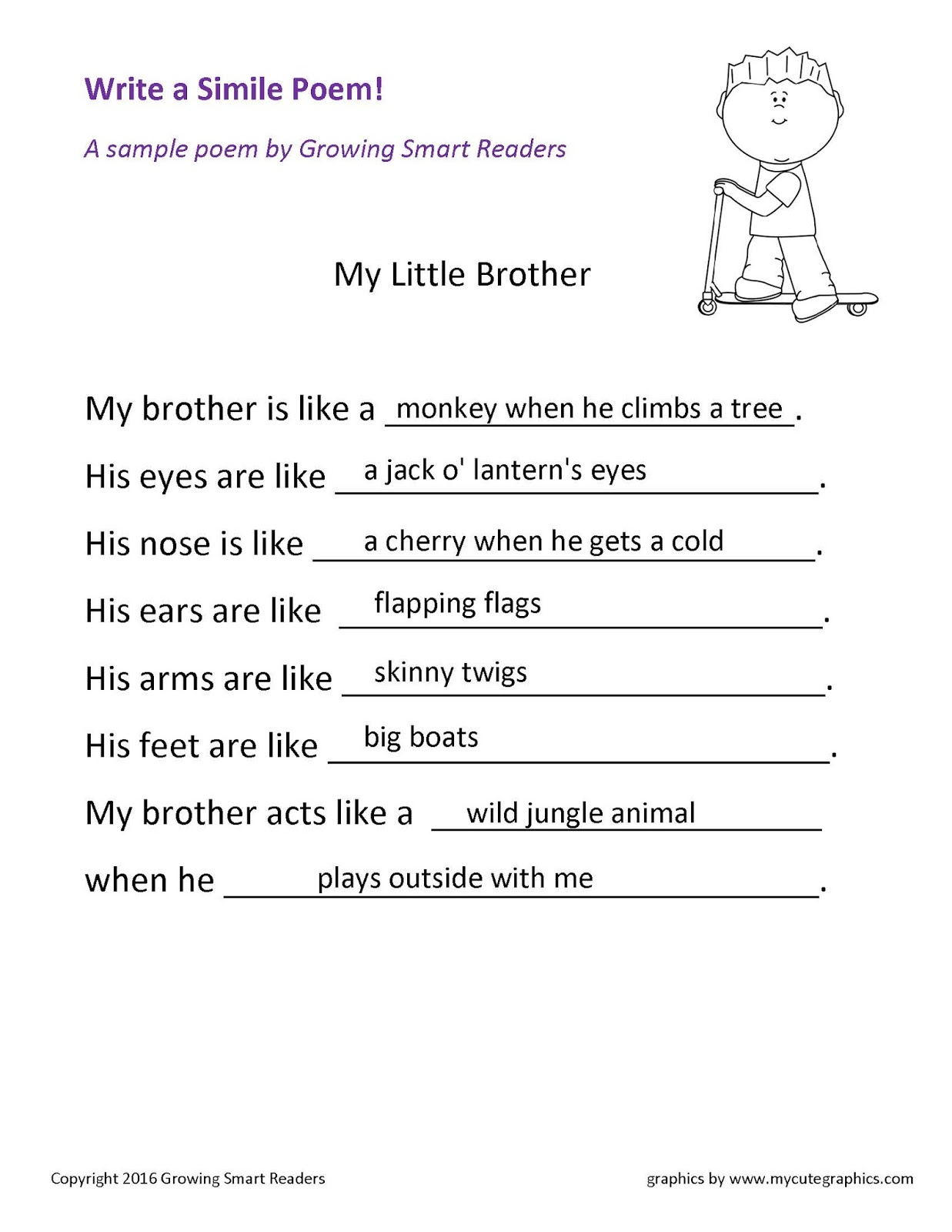 Growing Smart Readers Write A Simile Poem Free Download