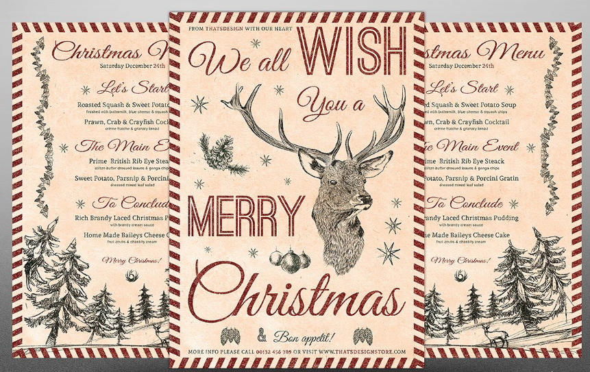merry christmas menu template 2016