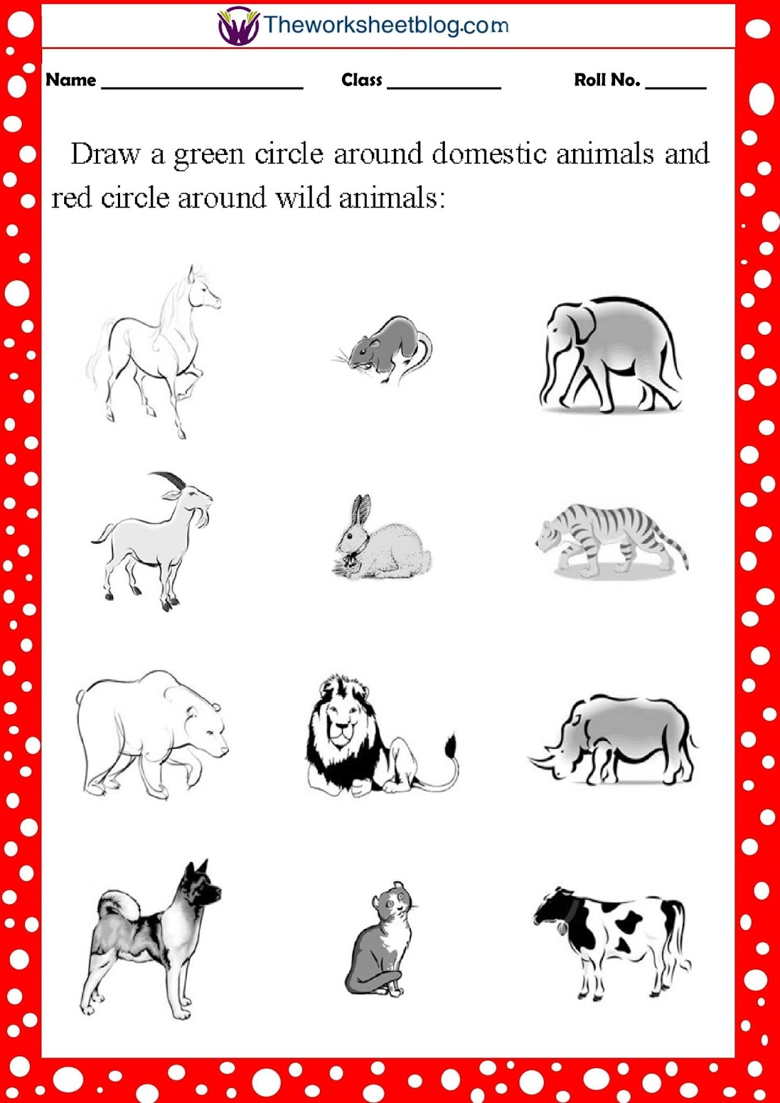 Animal Worksheets For Grade 1 And Grade 2