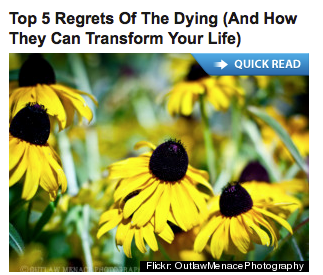 Huffington Post headline and photo of blackeyed susans