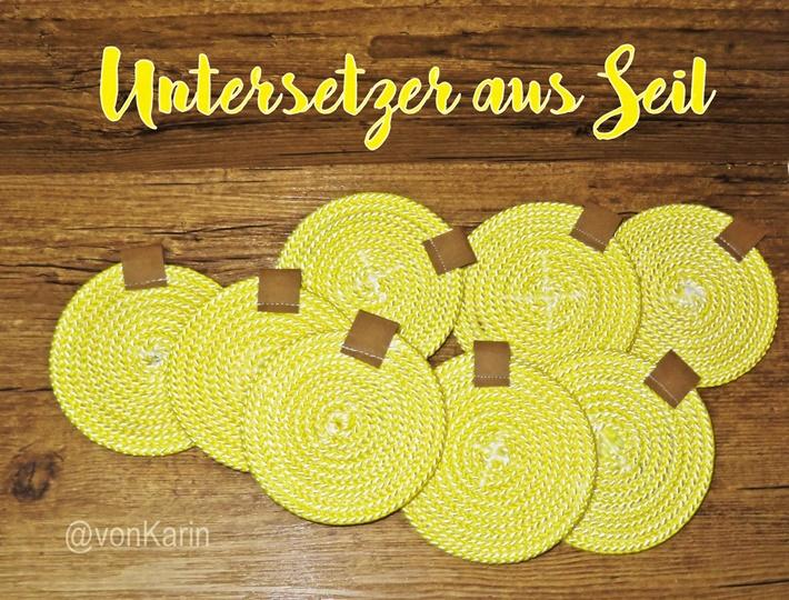 Gelbe Untersetzer aus Seil genaeht - rope rugs