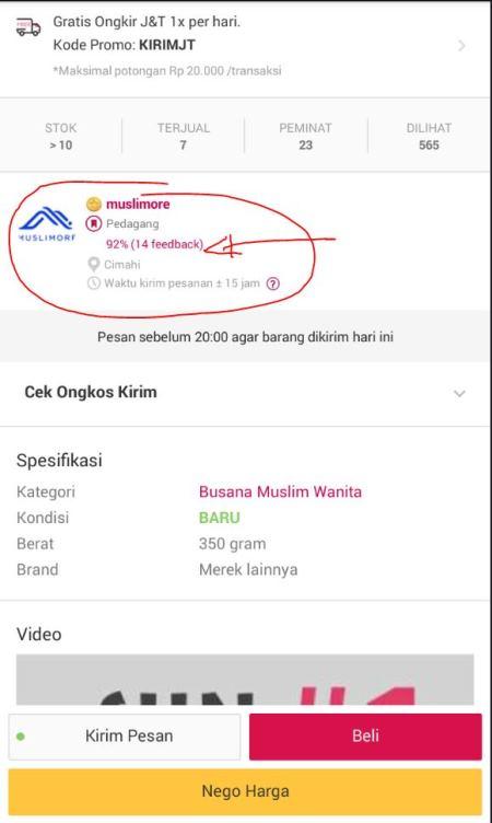 lihat feedback penjual di Bukalapak