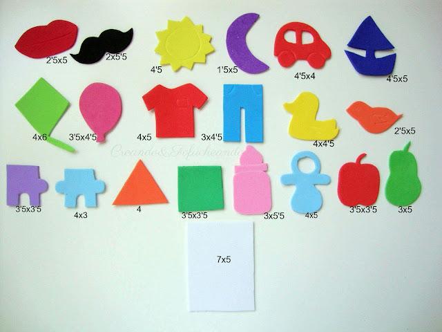 piezas y medidas de las figuras para hacer el juego de memoria en goma eva