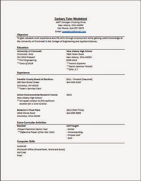 Zachary Wedekind Up-To-Date Resume (4/26/2015) - up to date resume