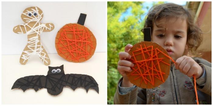 actividades, manualidades niños motricidad fina otoño, hilar figuras cartón  halloween