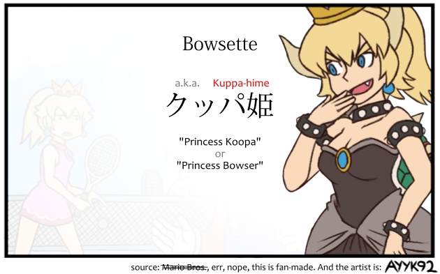 Japanese Name So Someone Made A Comic Featuring Bowser From Mario Bros Turning Into Princess You Know The Bad Turtle Dude Who Kidnaps Princesses