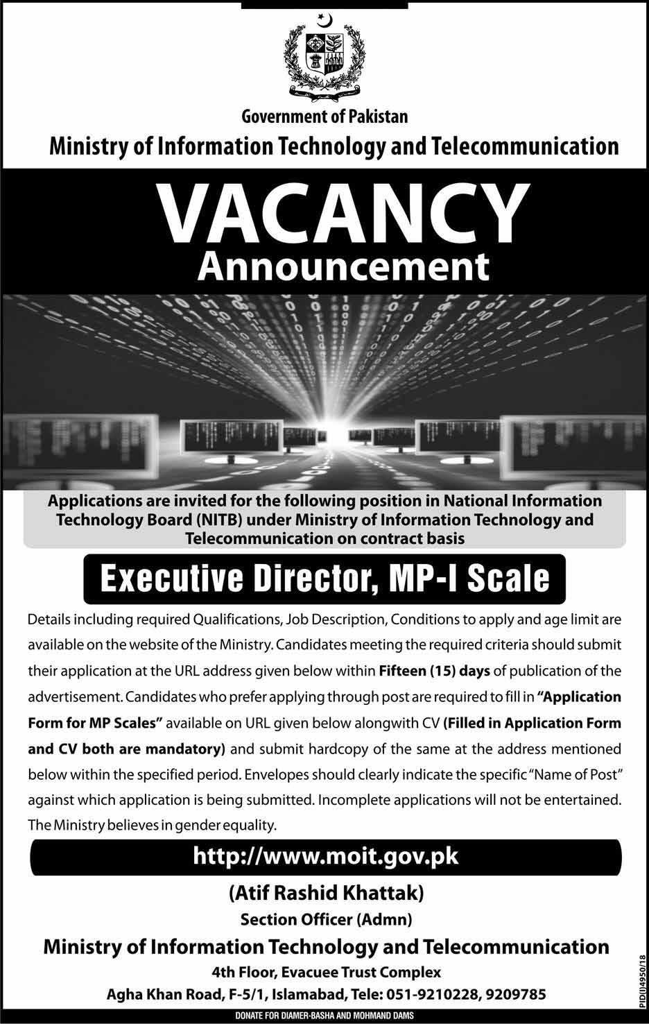 Ministry Of Information Technology And Telecommunication Latest Jobs   moit.gov.pk