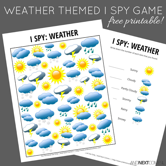 Free weather themed I Spy game for kids from And Next Comes L