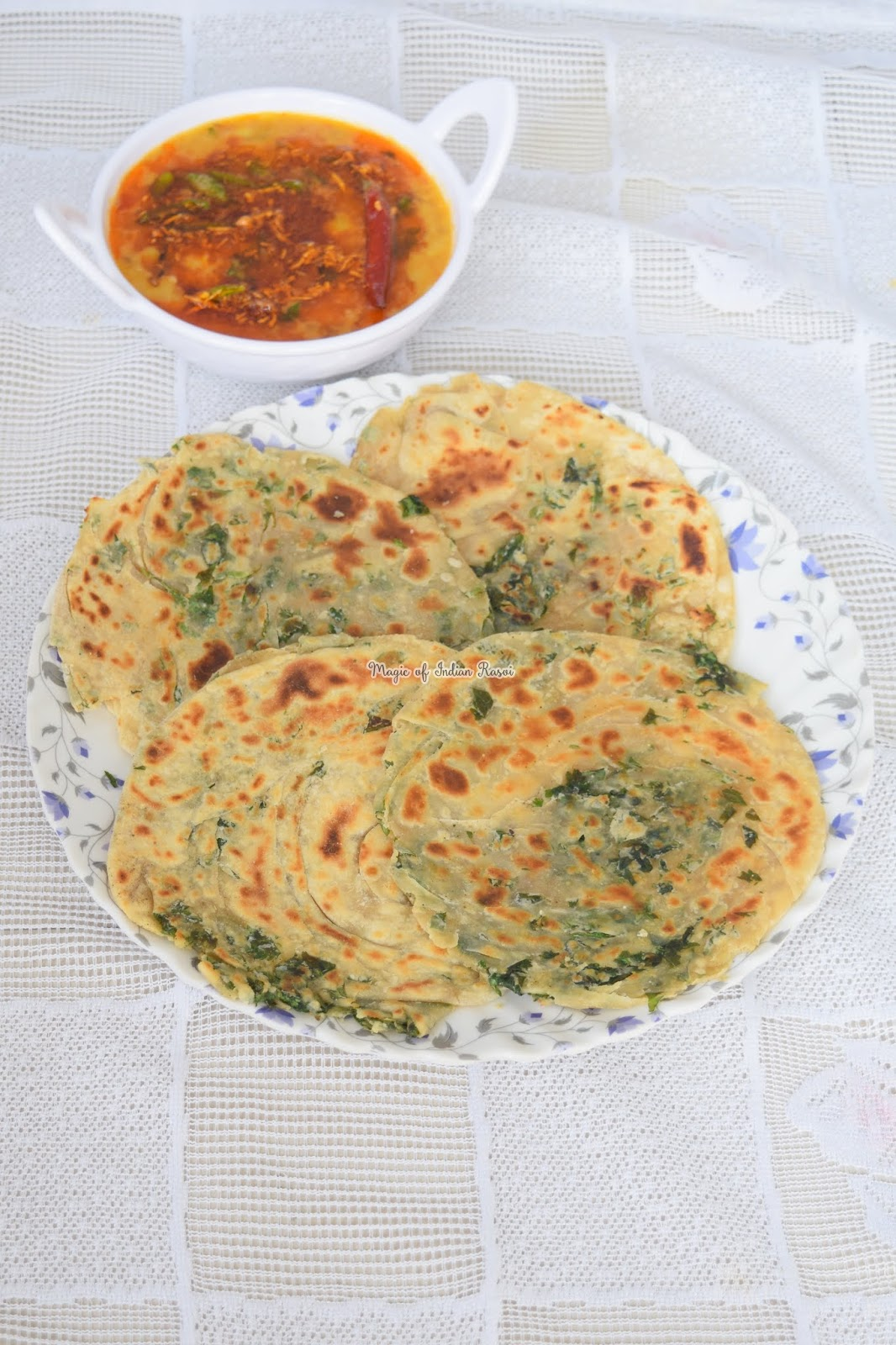 Pudina Laccha Paratha (Dhabha Style) Recipe - पुदीना लच्छा पराठा ढाबा स्टाइल - Priya R - Magic of Indian Rasoi