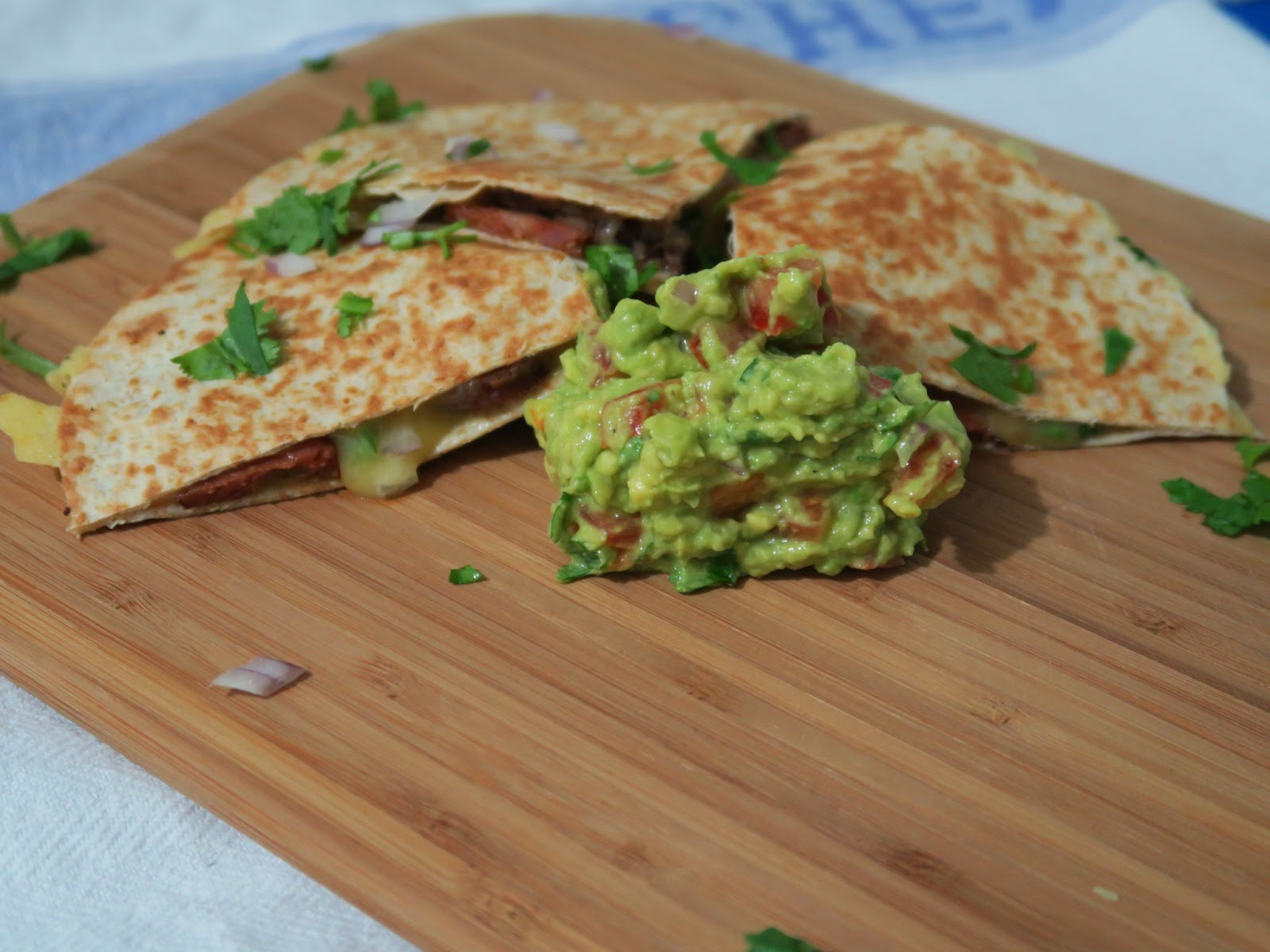 Chipotle & black-bean quesadillas with guacamole.
