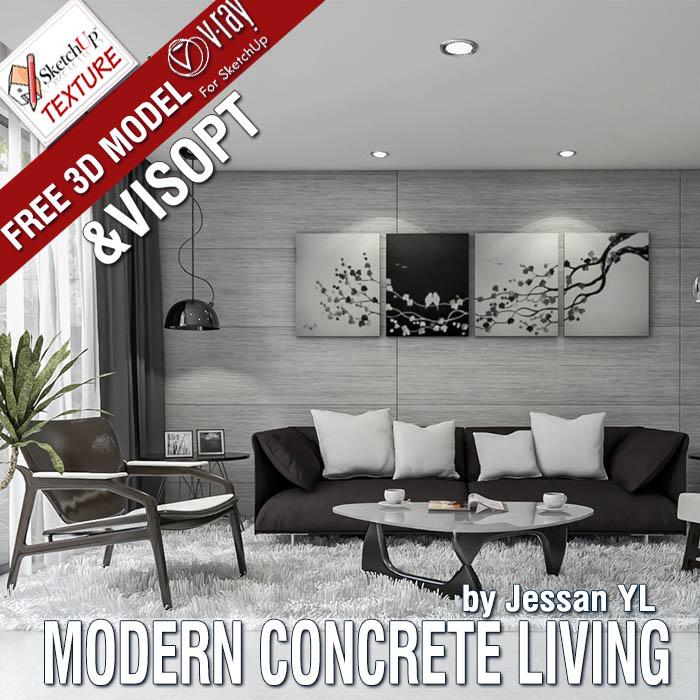FREE SKETCHUP MODEL MODERN CONCRETE LIVING ROOM & VRAY