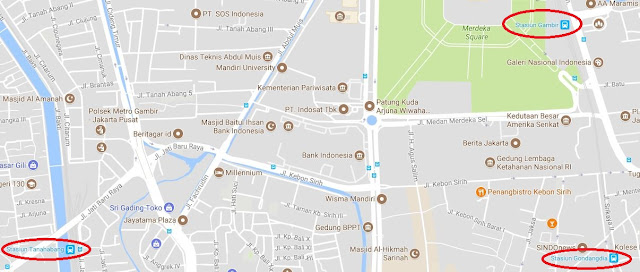 Peta arah Stasiun Gambir