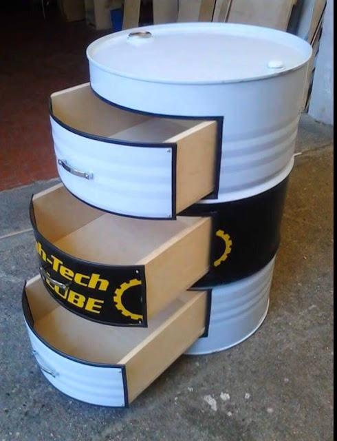 o lado de c barril de ferro tambor de metal reciclado. Black Bedroom Furniture Sets. Home Design Ideas