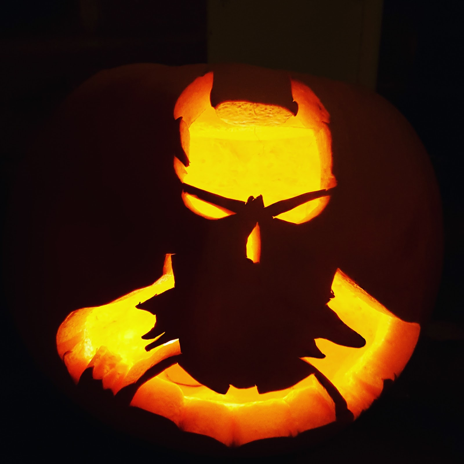 A Batman Inspire Cut Out Pumpkin