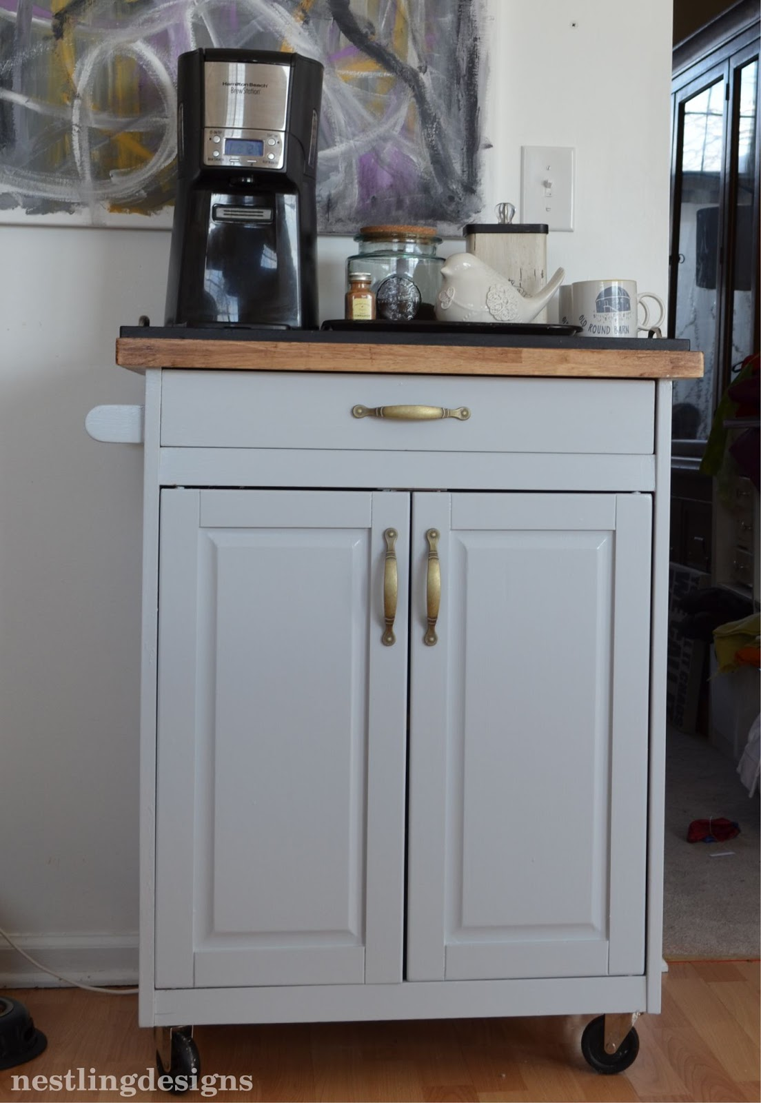 Nestling One Room at a Time  Kitchen Cart turned Coffee