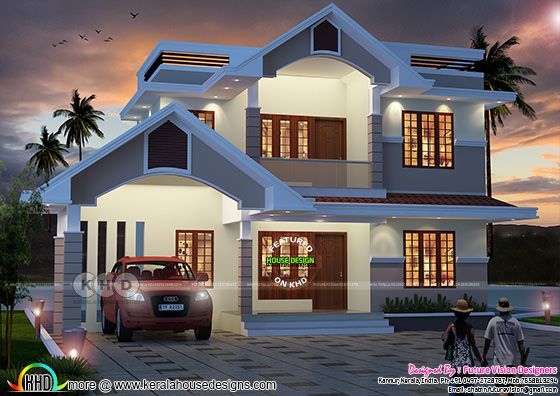 2811 square feet 5 bedroom sloping roof house design