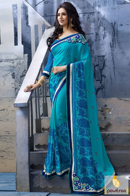 Ishita Divyanka Tripathi special ice blue embroidery party saree with discount offer price at pavitraa.in