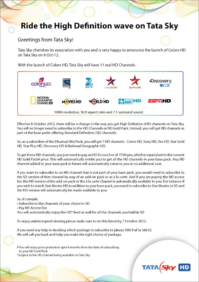 Colors TV HD Now Available on TATA Sky HD from 8 October 2012