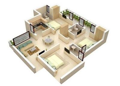 Denah Desain Rumah 3 Kamar Tidur Minimalis Terbaru