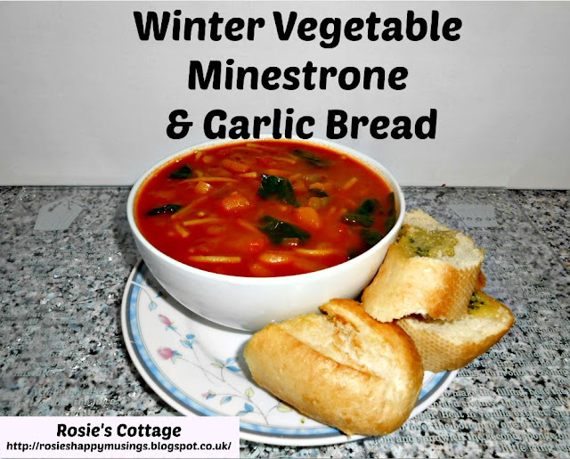 Winter Vegetable Minestrone Soup & Garlic Bread