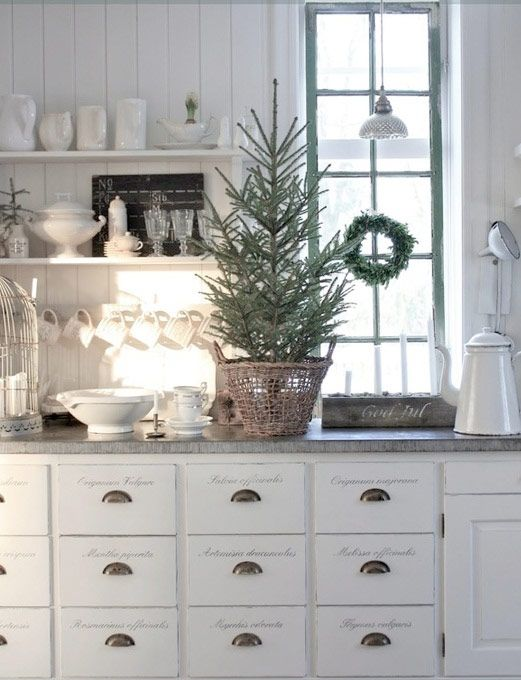 White Kitchen with Simple Christmas Decor.