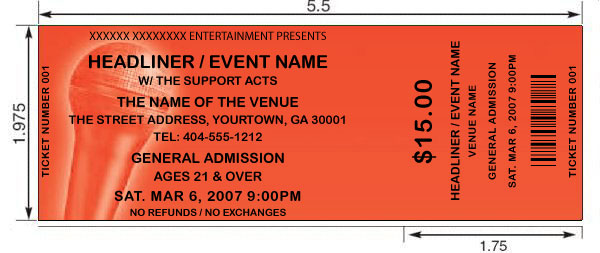 remember our tickets print the eventvenue info only in black so your background design must allow for contrast so the tickets are legible