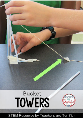 STEM Challenges: This amazing challenge uses one basic material- Straws! Add a few more items and see if your students can build a suspended bucket that will hold weight! This team found a clever way to use their string!